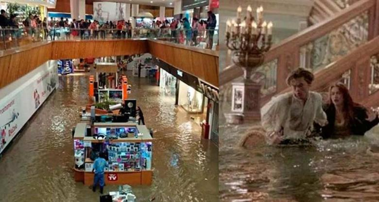 Band plays Titanic theme song while shopping mall floods - video