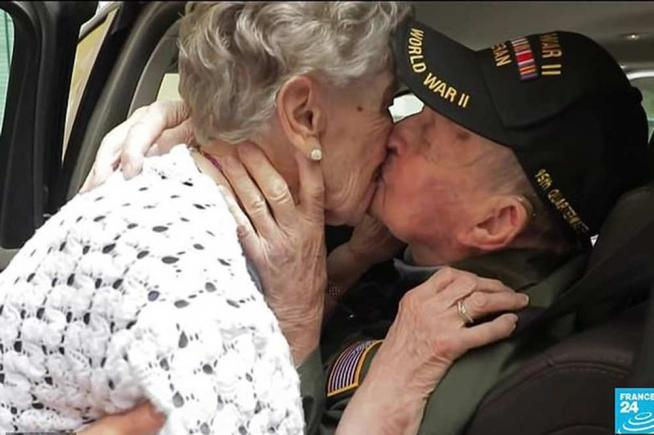 Army vet, 97, and woman he fell in love with during war, meet again after 75 years - video