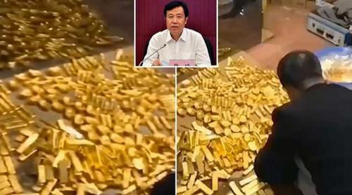13.5  tonnes of gold found in corrupt Chinese official's home - video
